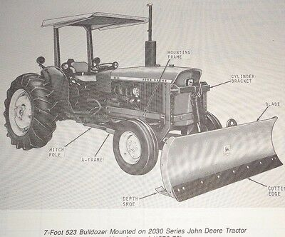 John Deere 523 Agricultural Bulldozer Dozer Blade Parts Catalog Manual Book Jd