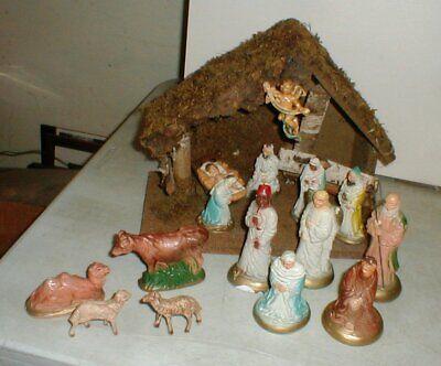 Vintage Roman Fontanini Christmas Nativity Set Italy Wooden Manger & 15-Pieces