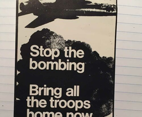 ORIG ANTI-WAR STOP THE BOMBING  VIETNAM / SOCIALIST WORKERS DECAL POSTER / 69-70
