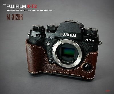 LIM'S Genuine Leather Camera Half Case + Dovetail Plate For Fuji XT2 X-T2 Brown