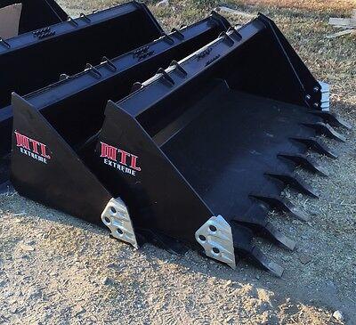 60 Severe Duty Tooth Dirt Bucket W Side Cutters Skid Steer Bobcat-ship 149