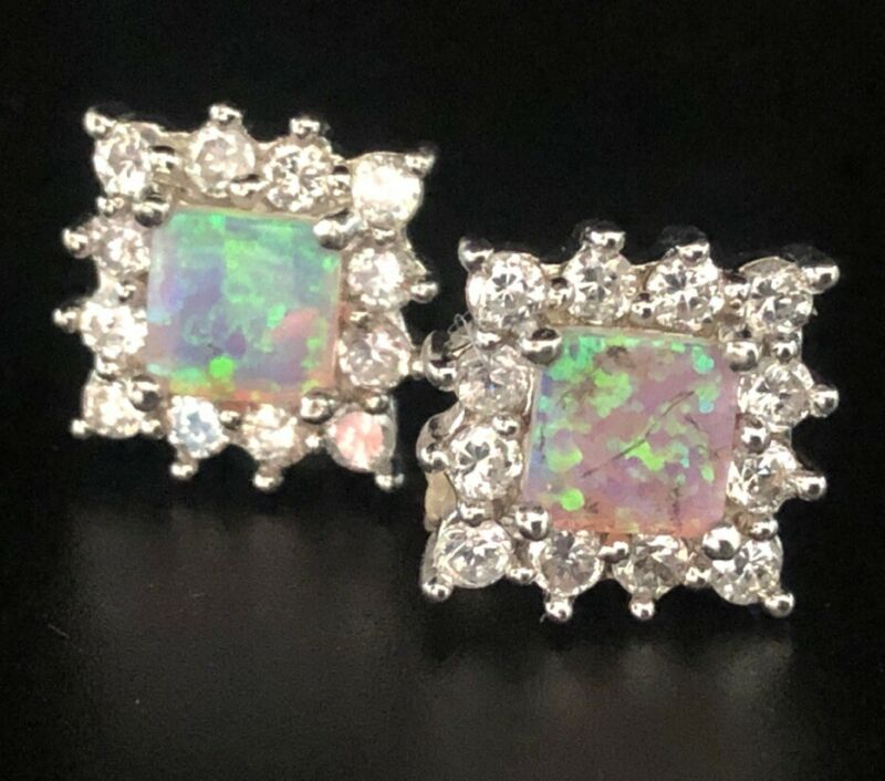 Vintage Sterling Silver Earrings 925 Lab Opal CZ Square