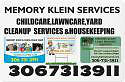 MEMORY KLEIN SERVICES CHILDCARE,YARD CLEANUP,LAWNCARE&HOUSEKEEPI