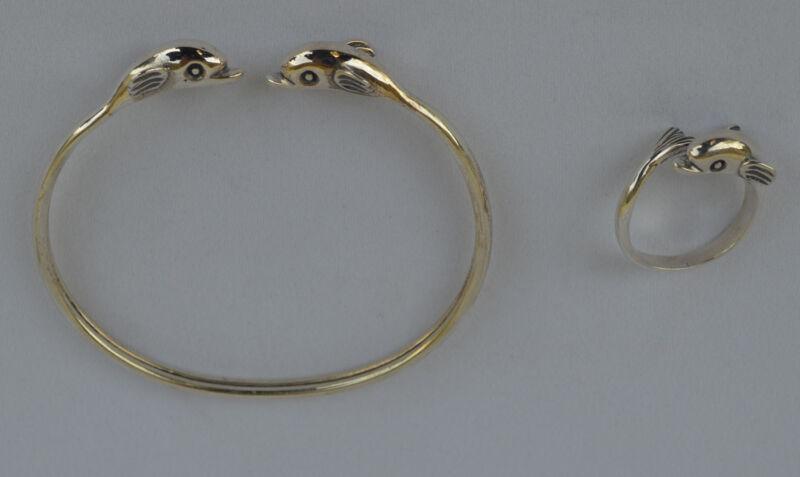 Dolphins Silver Set Bracelet Pendant Ring - Symbol of Aphrodite Goddess of Love