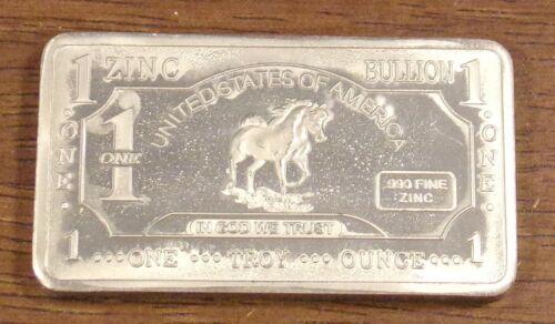 1 oz One Troy Ounce USA .999 Fine Zinc Bullion Bar