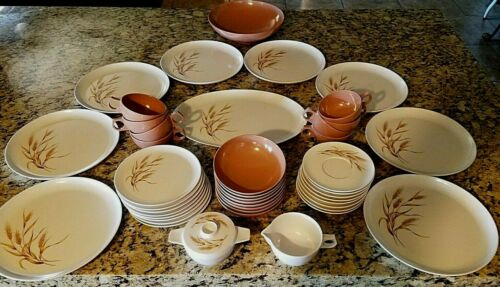 Wheat Melmac Mid Century Plates Cups Platter 45 Pc. Complete set for 8 Great !