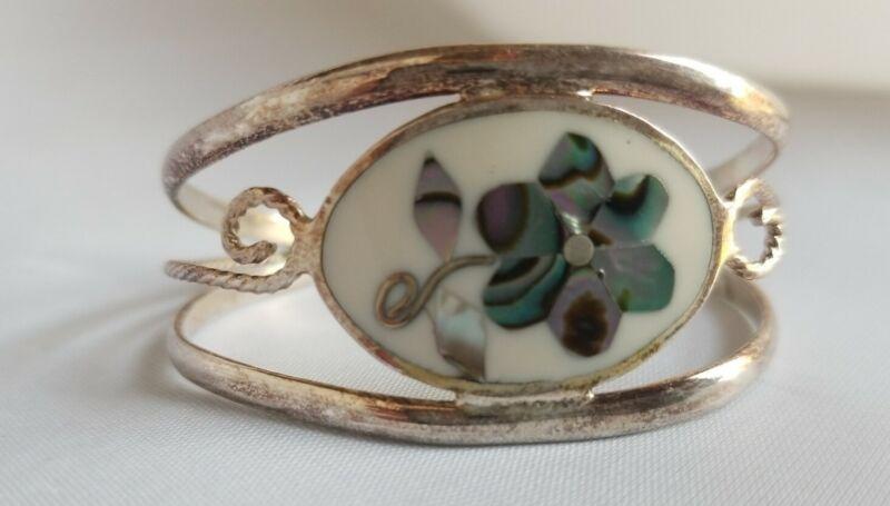 Vintage Alpaca MEXICO SIlver Tone White Green Abalone Inlay Cuff Bracelet