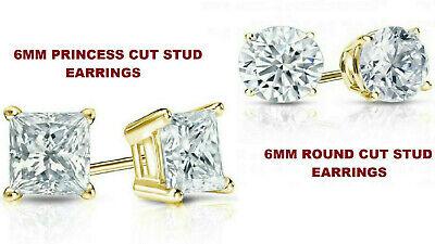 2 PAIRS ! 6MM Princess Cut & 6MM Round Cut Diamond Stud Earrings 14k Yellow Gold ()