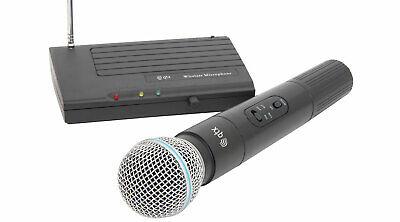 QTX Wireless Microphone Mic with Receiver DJ Karaoke Disco VHF Radio PA Cordless (Dj Wireless Microphone)