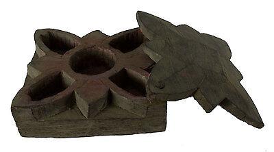 Vintage Very Large Box Tikka or Spices Wooden Sculpté.inde Nepal - 1386