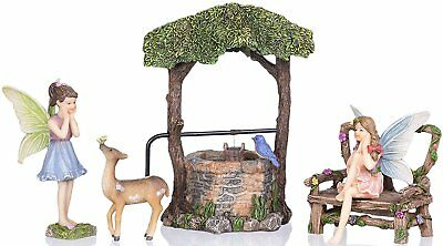 (Joykick Fairy Garden Well Kit – Miniature Figurine and House Accessories Set)