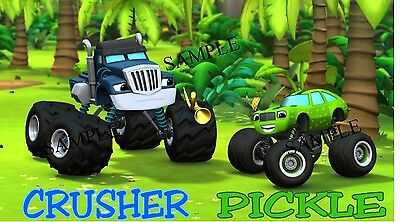 CRUSHER & PICKLE OF BLAZE AND THE MONSTER MACHINES #1 IRON ON TRANSFER
