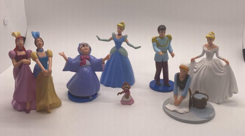 7 Disney Princess Cinderella Lot Of Figurines  Fairy Godmother Step Sisters More