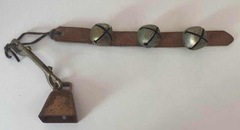 "Rare Vintage Leather 3 1 3/4"" Sleigh Bells, Swedish Style Bell, Horses,Christmas"