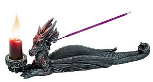 MEDIEVAL DRAGON INCENSE BURNER CANDLE HOLDER COLLECTIBLE STATUE FIGURINE