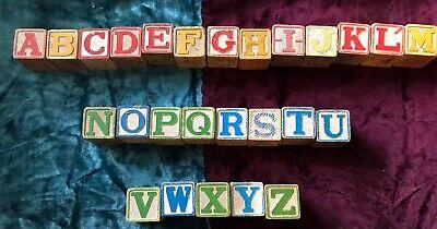 Vintage Wooden Kids Alphabet Blocks Letters A-Z