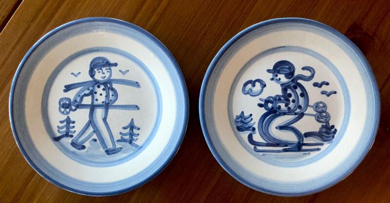 Original Vintage Set of 2 M.A. Hadley Blue & White Plates- MINT NEVER USED