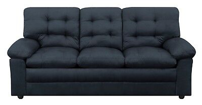 Modern Microfiber Black Sofa Couch 3 Seat Upholstery Loveseat Living Room