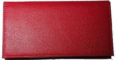 Genuine Luke Ryan Full Grain Leather Checkbook Cover -- Candy Apple Red