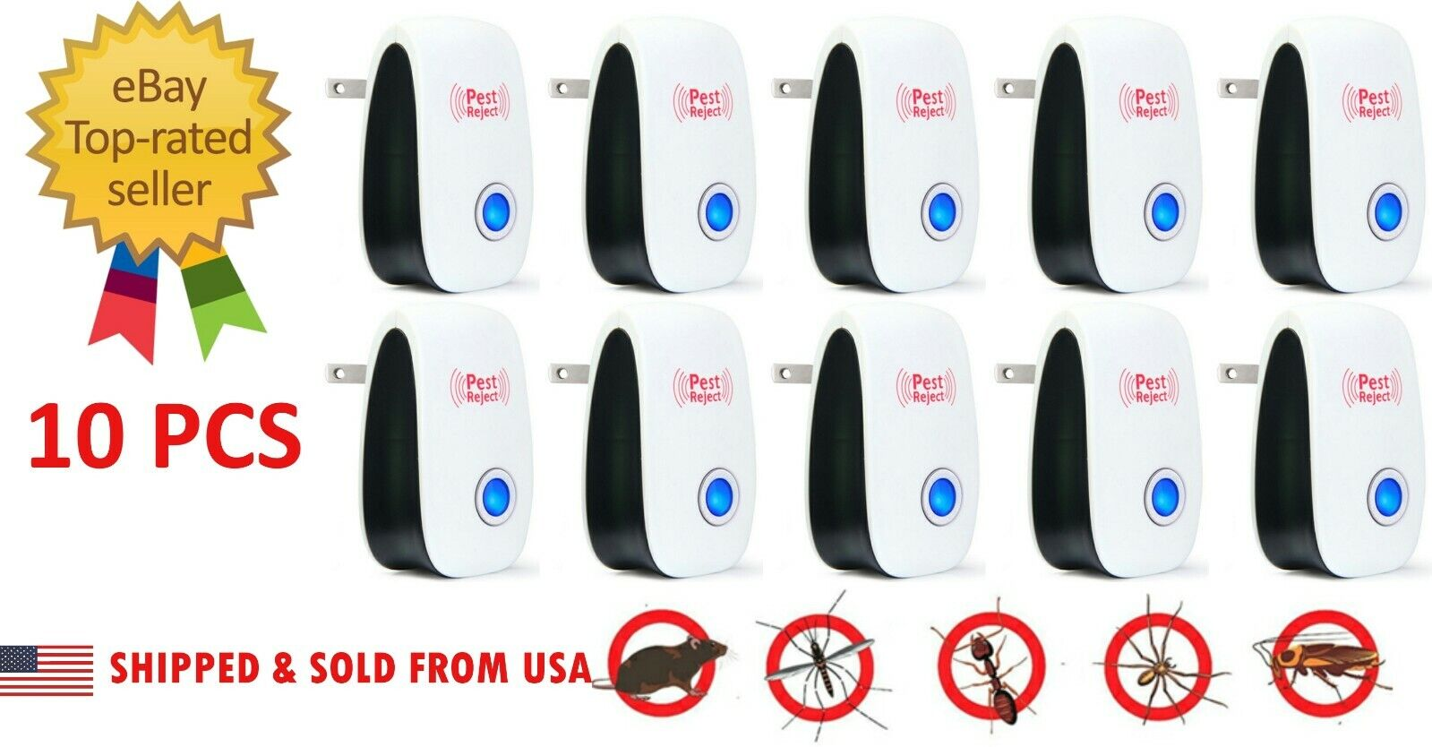 10 PC 2020 Ultrasonic Pest Repeller Control Electronic Repel