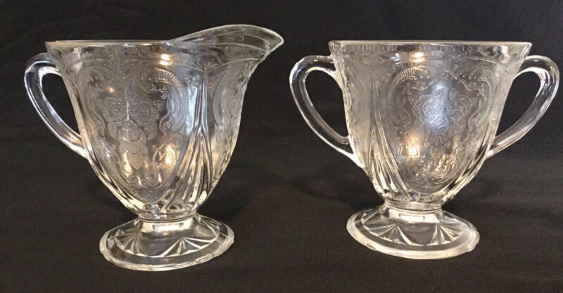 "Vintage 1930s Hazel Atlas Sugar and Creamer Glass ""Royal Lace"" Clear"