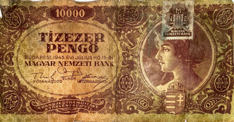 Hungarian Bill 1945 With Stamp 10000 Pengo