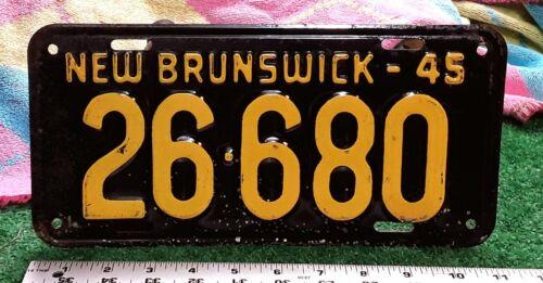 NEW BRUNSWICK - 1945 passenger license plate - all original nice condition