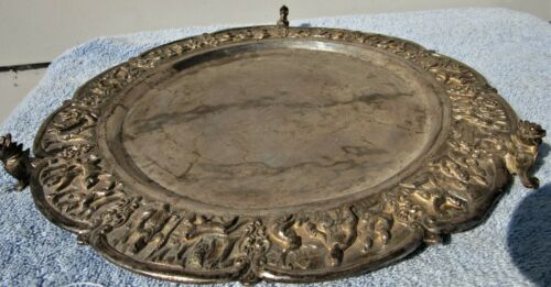 LARGE ORNATE CHASED REPOUSSE BURMESE 19TH CENTURY CHARGER TRAY 950 SILVER 955 GR