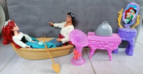 Lot 2 poupées ariel eric barque + accessoires petite sirène disney mattel doll
