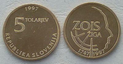 Slowenien / Slovenia 5 Tolarjev 1997 p38 unz.