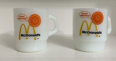 2 Vintage McDonalds Good Morning Coffee Mugs Milk Glass Anchor Hocking Fire King