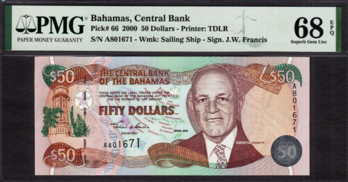 Bahamas 50 Dollars 2000 Pick-66 SUPERB GEM UNC PMG 68 EPQ **TOP GRADE**