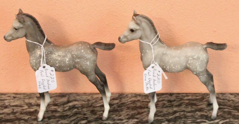 Vtg. 2 Breyer Horses #220 Dapple Grey Proud Arabian Foal dark and Grey Matte EUC