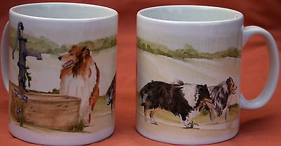 ROUGH COLLIE DOG MUG OFF TO THE DOG SHOW WATERCOLOUR PRINT SANDRA COEN ARTIST