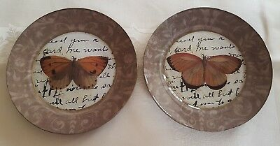 "NEW 2 Marye Kelley MOTH Script Decoupage Glass 9"" Round Plates"