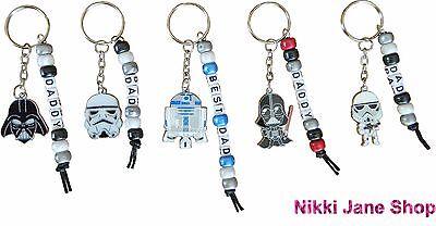 Dad Keyring Fathers Day Personalised Star Wars Keyring Vader Stormtrooper R2D2