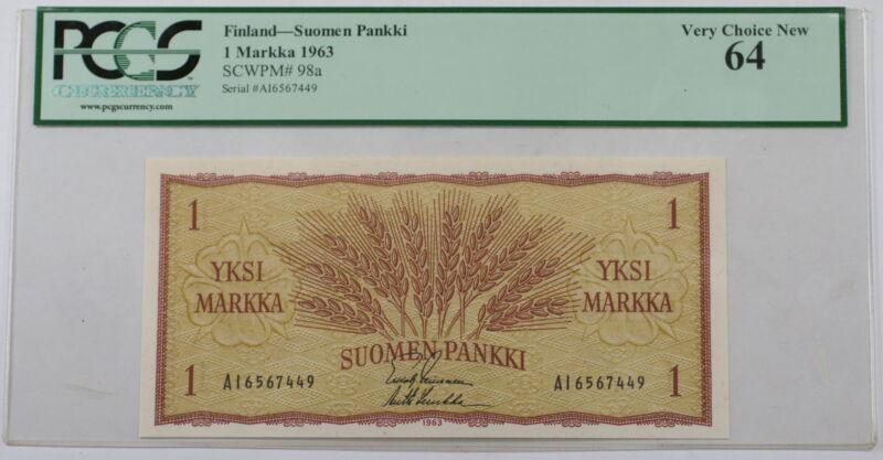 1963 Finland Suomen Pankki 1 Markka Note SCWPM# 98a PCGS 64 Very Choice New