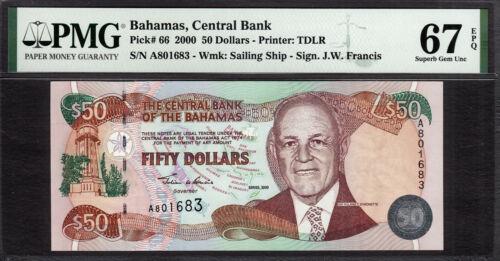 Bahamas 50 Dollars 2000 Pick-66 SUPERB GEM UNC PMG 67 EPQ
