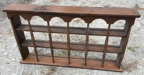 Stained Wood Knick Knack Curio Wall Shelf vintage 36 x 20 teacup plate rail