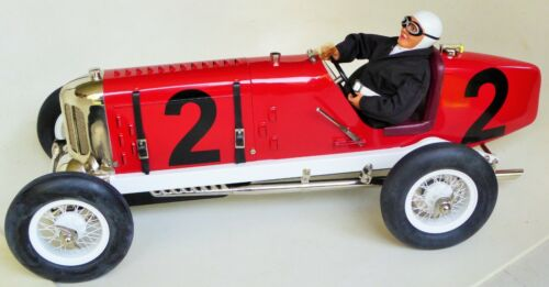 GILBOW CLASSIC TINPLATE LARGE RACER #2 MILLER CAR MECHANICAL TOY WITH DRIVER