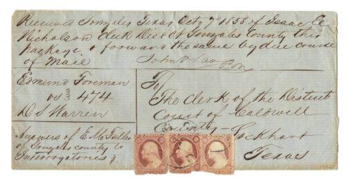 Original 1858 Envelope Sent to District Court Caldwell County Lockhart Texas