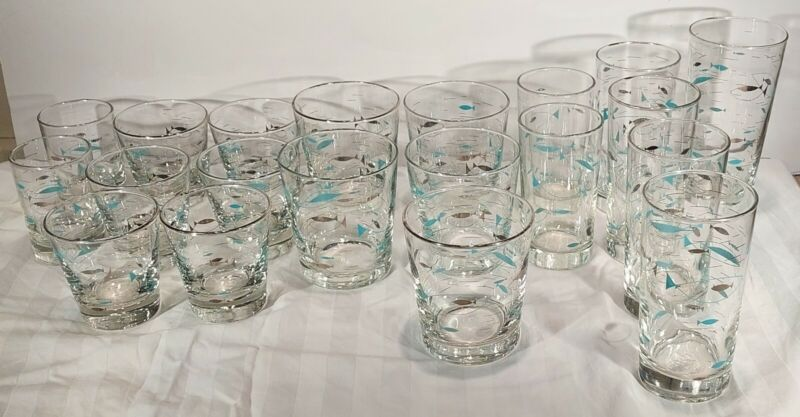 Libbey Atomic Mediterranean Aqua Fish Vintage Glasses