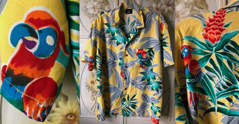 VTG 80s KENNINGTON BUTTON ALOHA SHIRT YELLOW RAYON PARROTS GRAY RED GREEN L EUC