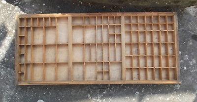 Vintage Printers Wood Letterpress Type Tray / Case