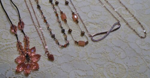 ASSORTED COPPER TONE GLASS & STONE BEADED PENDANT CHAIN NECKLACE LOT