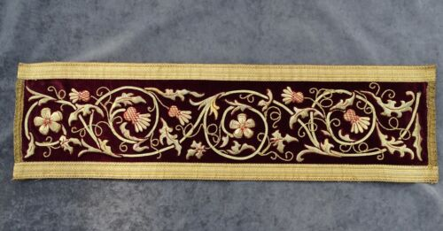 """Antique French Embroidery Gold Metallic on Burgundy Velvet  31.5"""" x 8.6"""" - 19th"""