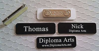 Custom Name Tags 2.5x0.75 Black -white Letters Corners Rounded W Magnet