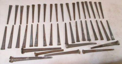 "43 Vintage Antique Cut Nails Tapered Cut Nails 2-1/4"" to 3-3/8"" Barn Nails"