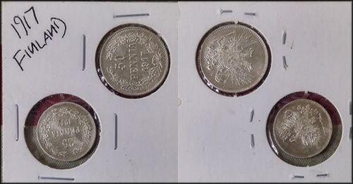 1917 Finland 25 & 50 Pennia Silver Coins - UNC - BINo