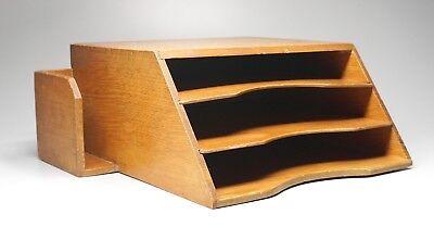 Vintage Oak Desk Organizer Letter Tray Geo Spalt Sons Albany Ny 12.25 Wide